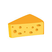 Big Piece Of Swiss Cheese With Holes Primitive Cartoon Icon, Part Of Pizza Cafe Series Of Clipart Illustrations