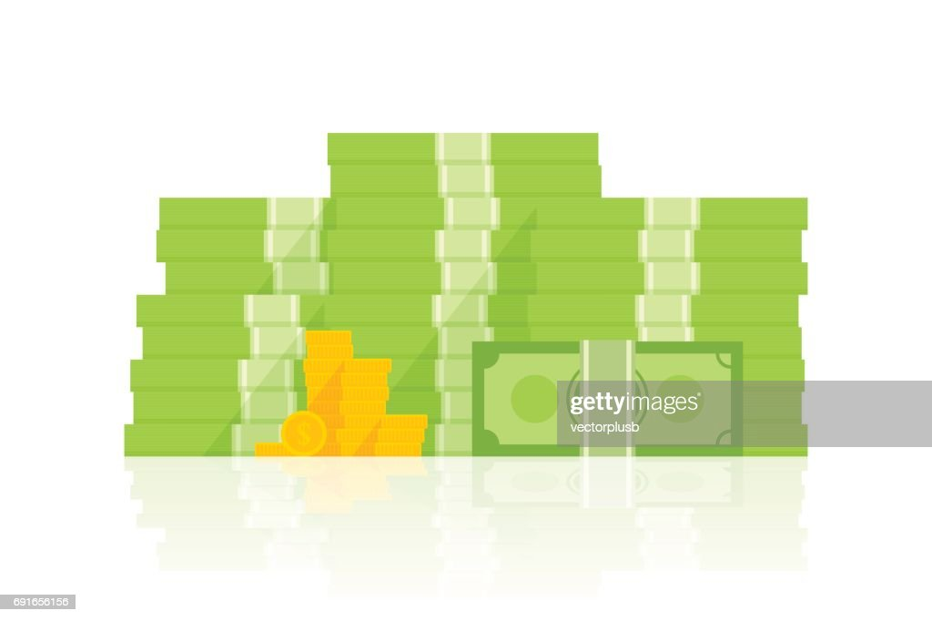 Big pile of money vector illustration, heap of cash flat cartoon style