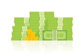 Big pile of money vector illustration, heap of cash flat cartoon style