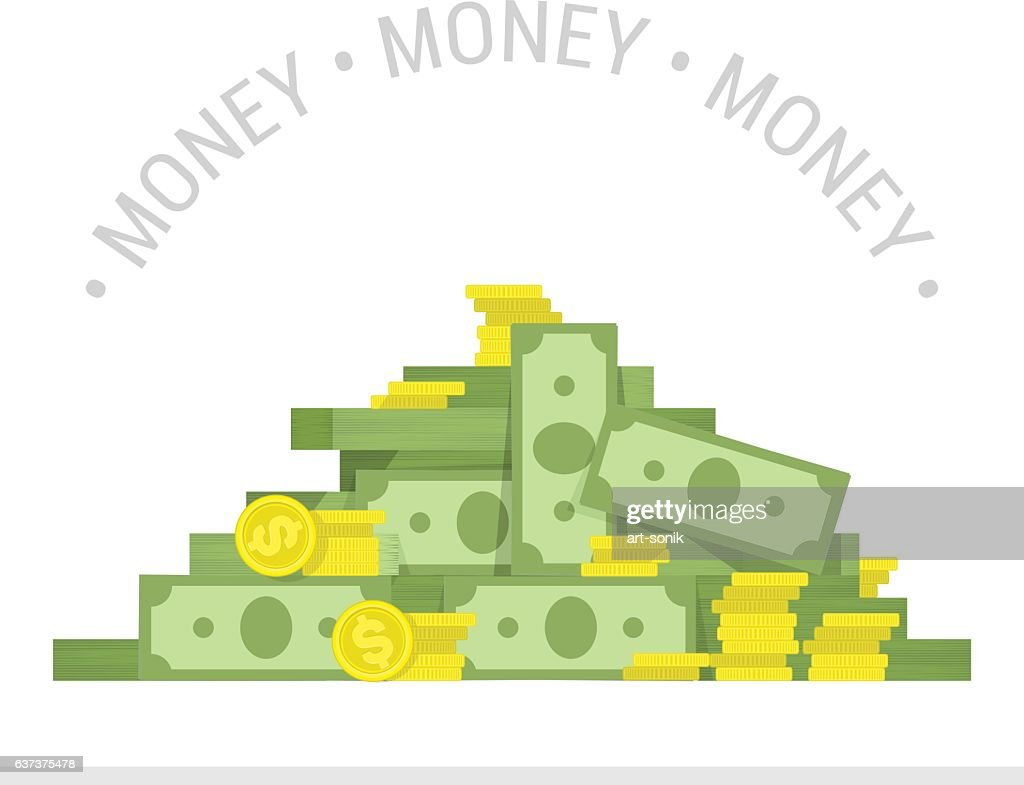 Big pile of money vector illustration.