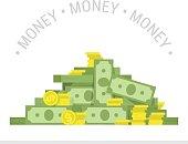Big pile of money vector illustration.