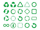 Big recycle sign set. Green recycle icon set on white background. 20 different recycling symbols.