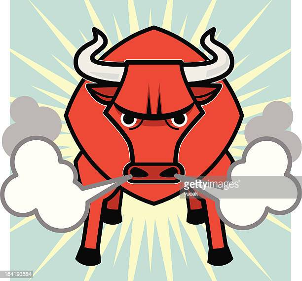 big red bull - animals charging stock illustrations, clip art, cartoons, & icons