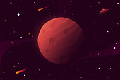 Big red planet with craters. Mars vector illustration. Space background with stars, planet and comets. Decoration for your design. Eps 10.