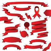 Big red ribbon set vector illustration
