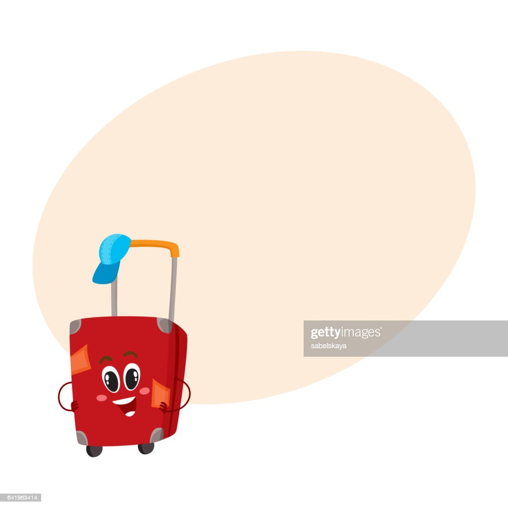 Big red suitcase character with many labels, travelling concept