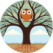 Big round tree and owl