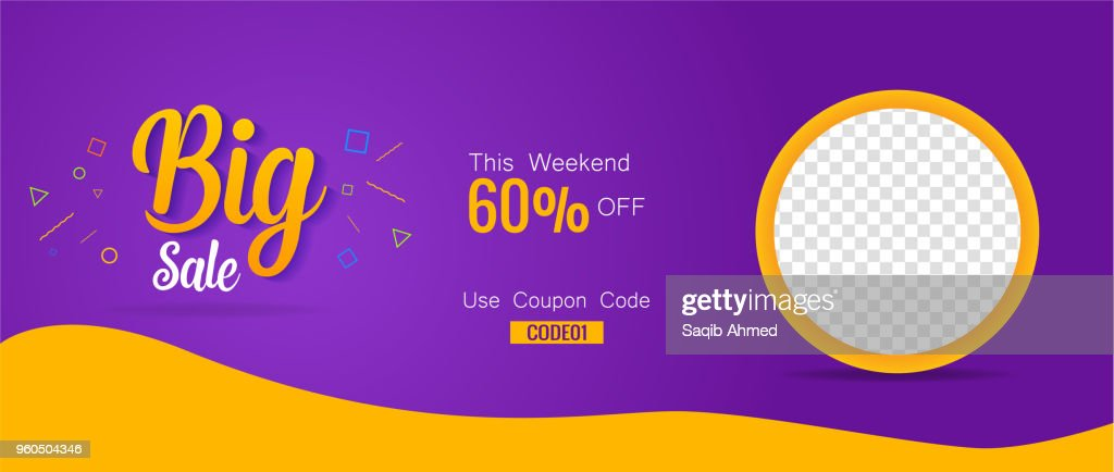 Big Sale 60% discount coupon banner cover poster template design