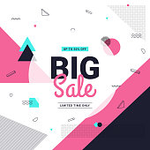 Big sale banner retro style with geometric shapes. Sale background template. Vector illustration