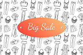 Big sale banner with hand drawn fashion clothes and accessories