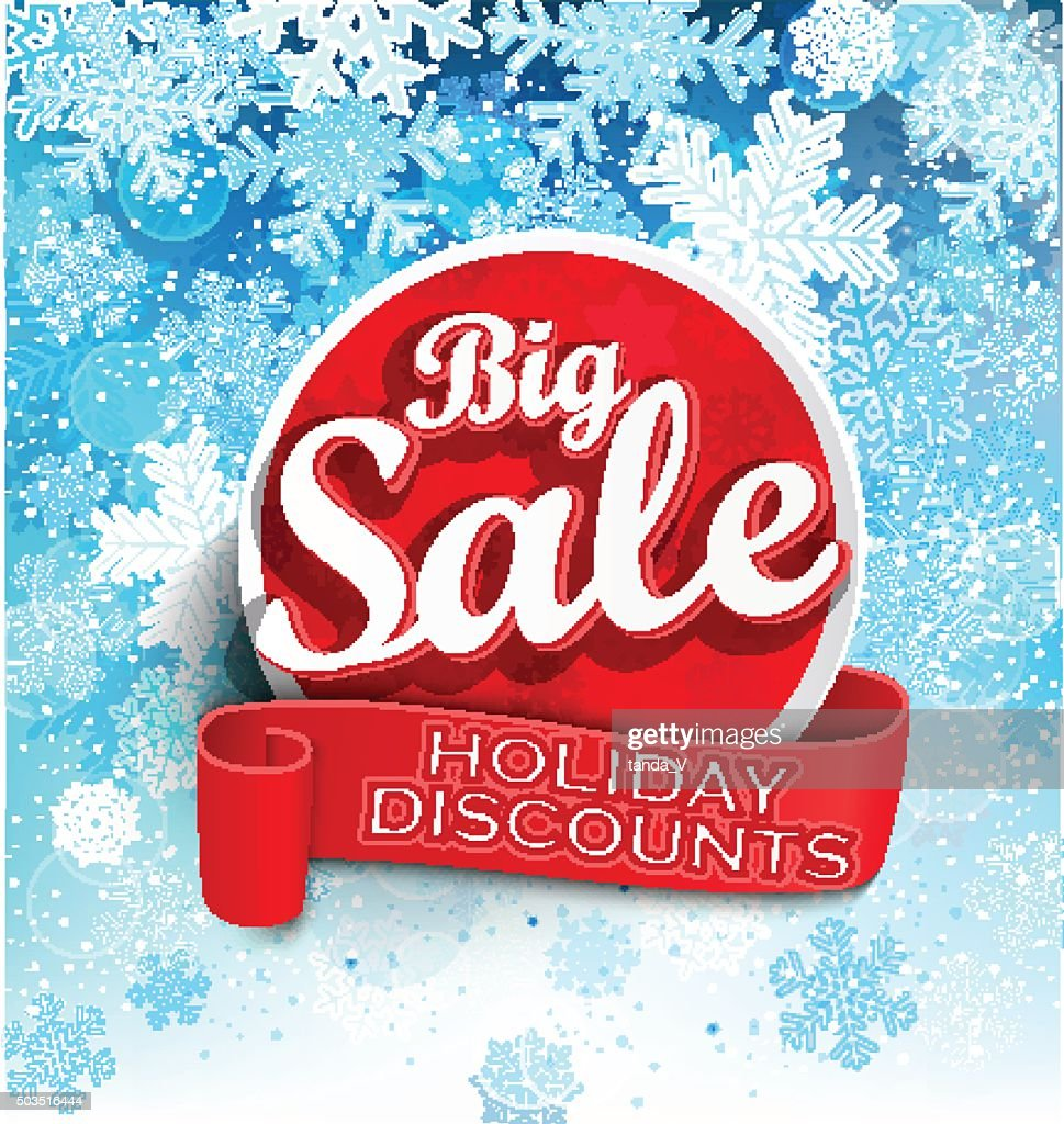 Big sale holiday discount sticer on the winter background
