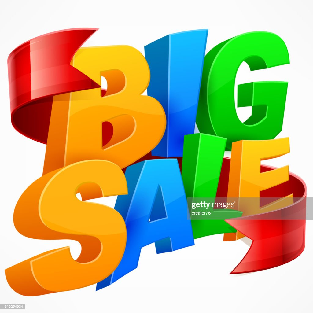 Big sale inscription. Ribbon : Vector Art
