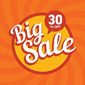 Big sale of 30 percent. Vector background.