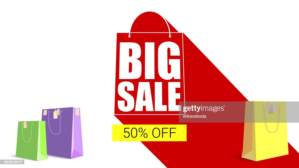 Big sale shopping bag silhouette with long shadow. Selling banner, discount fifty percent on a yellow button backdrop with colored shopping bags. Horizontal red background
