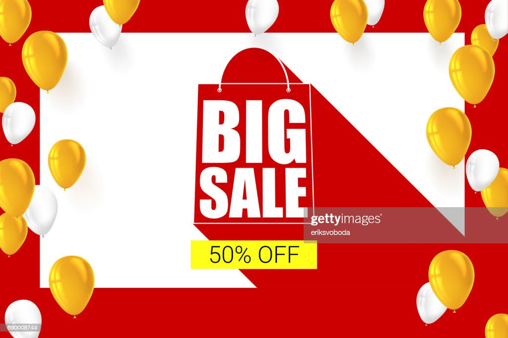 Big sale shopping bag silhouette with long shadow. Selling banner, discount fifty percent on a yellow button backdrop with white and yellow flying inflatable balloons. Horizontal red background