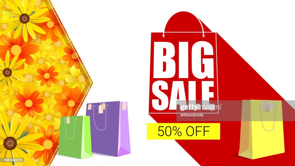Big sale shopping bag with long shadow. Selling banner, discount fifty percent on yellow button backdrop with colored shopping bags. Horizontal template, with yellow field of camomile flowers, daisy
