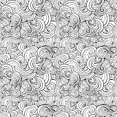 Big seamless pattern, black and white stylized curls, waves for