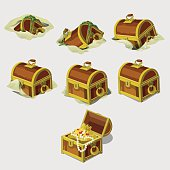 Big set chest with treasures, seven vector icons