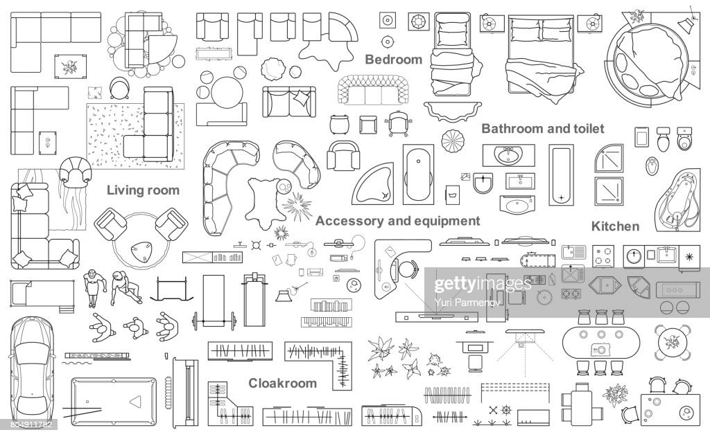 Big set icons of furniture for architecture plan.