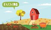 Big set infographics vector farm elements and ecology cartoon gardening background