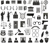big set law  court.different icons clipart.Themis gavel  people