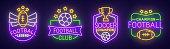 Big set neon sing. Soccer label and . American football banner, , emblem and label. Bright signboard, light banner. Vector illustration