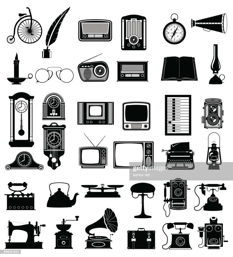 big set objects retro old vintage icons vector illustration