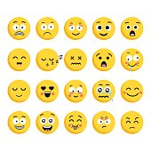 Big set of 20 high quality vector cartoonish emoticons, in flat design style. Funny different style design