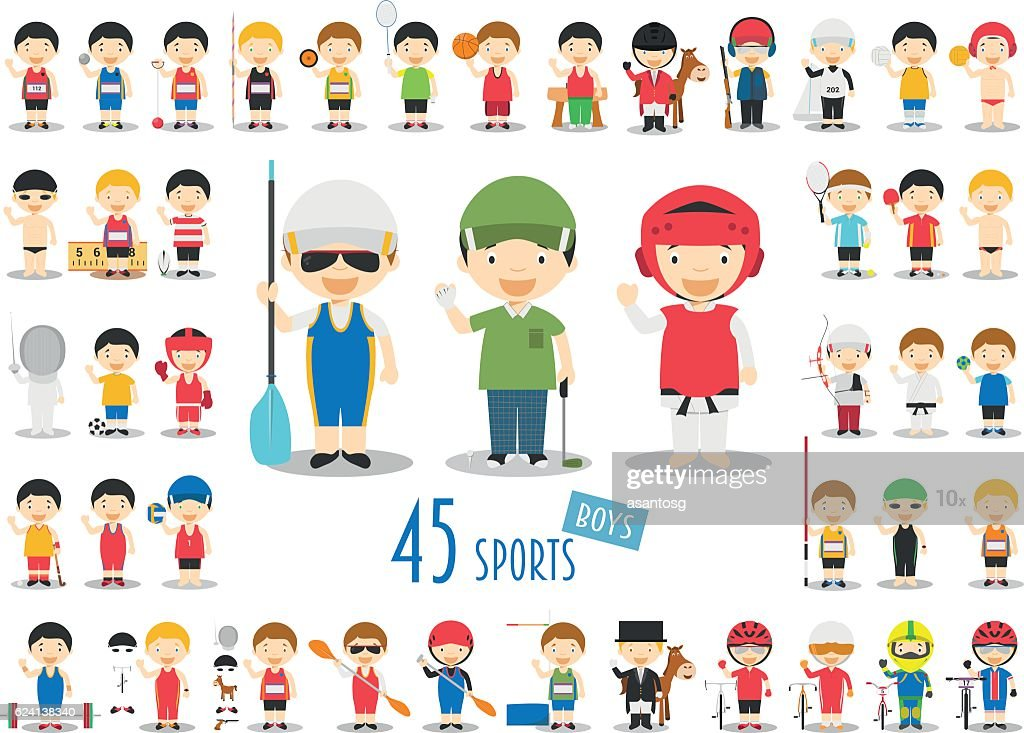 Big Set of 45 cute cartoon sport characters for kids.