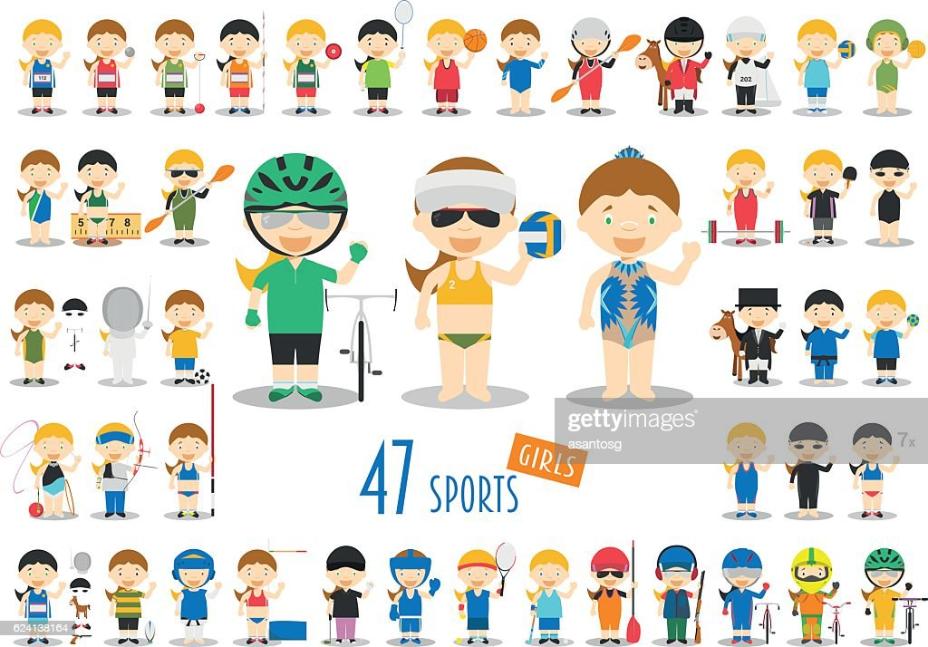 Big Set of 47 cute cartoon sport characters for kids.