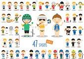 Big Set of 47 cute cartoon sport characters for kids.