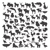 Big set of black animals silhouettes in cartoon style. Wild