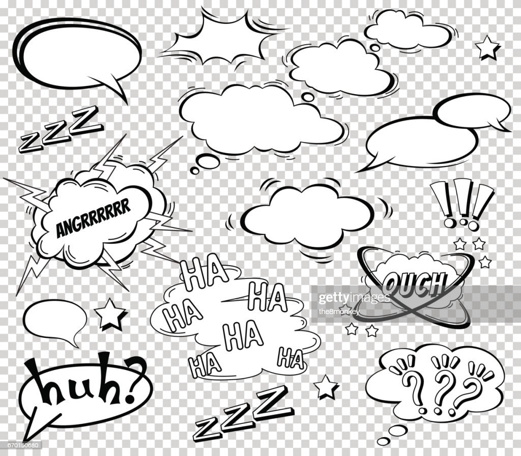 Big Set of Cartoon, Comic Speech Bubbles, Empty Dialog Clouds in Pop Art Style. Vector Illustration for Comics Book , Social Media Banners, Promotional Material