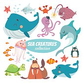 Big set of cartoon sea creatures