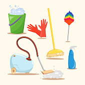 Big set of Cleaning tools and equipment with cartoon mop, bucket and vacuum cleaner illustration vector background.