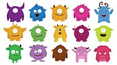 Big Set of colorful cartoon cute monsters