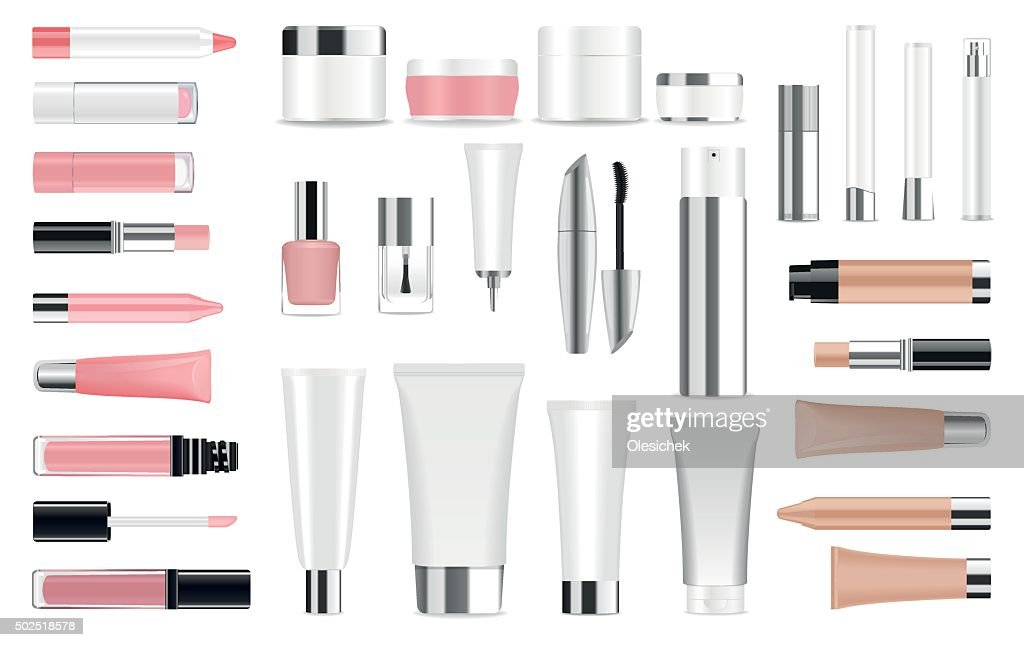 Big set of cosmetic containers and bottles