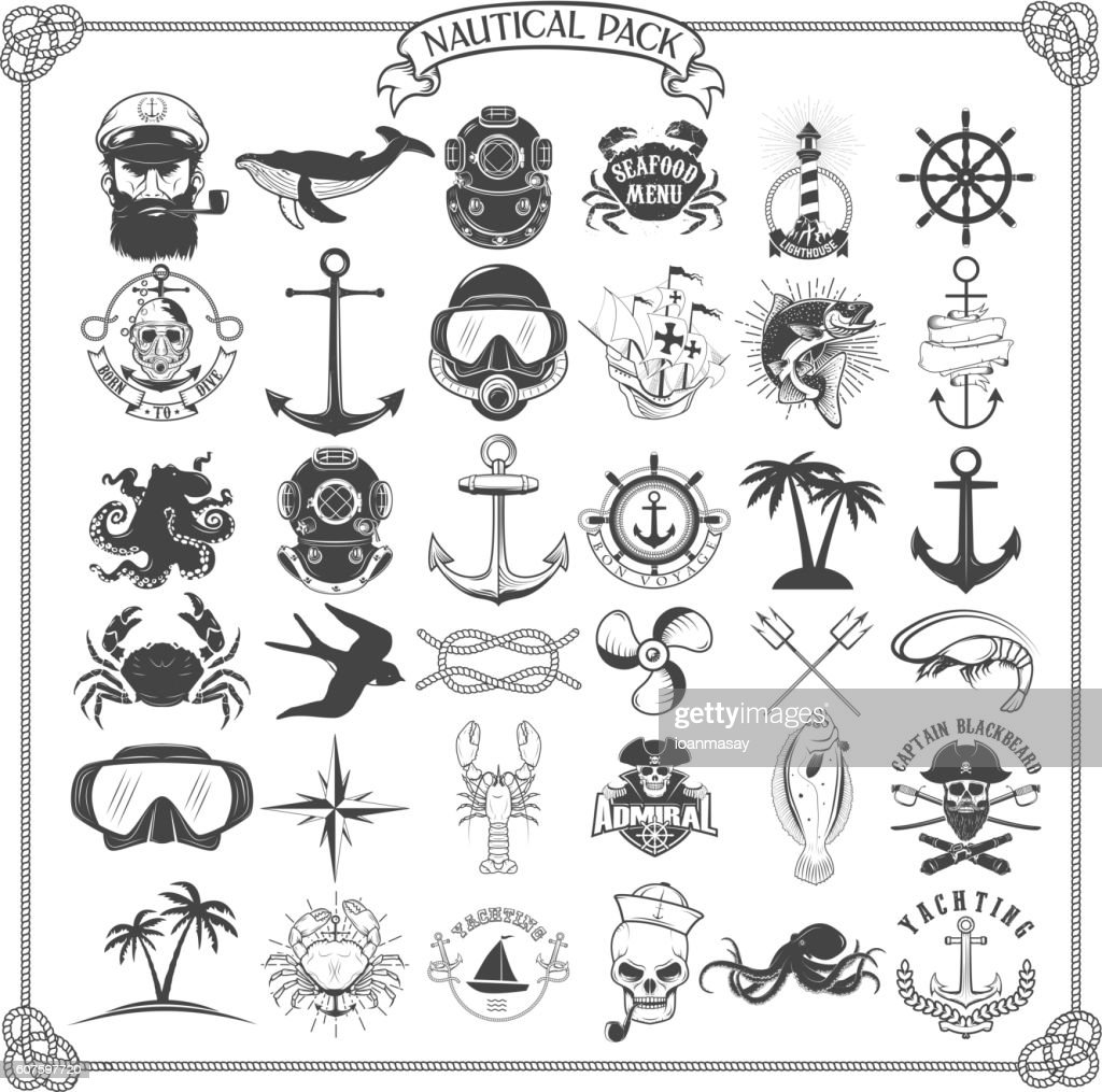 Big set of design elements for nautical emblems, seafood restaur