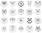 Big set of different cute animals. Children's pattern for decoration. Vector illustration of a sketch style.