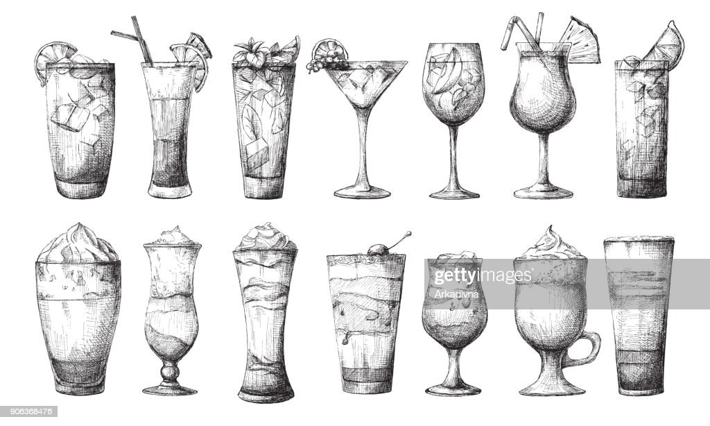 Big set of different glasses, different cocktails. Vector illustration of a sketch style.