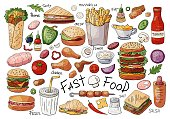 Big set of fast food color elements: sandwiches, burgers, snacks isolated on white background.
