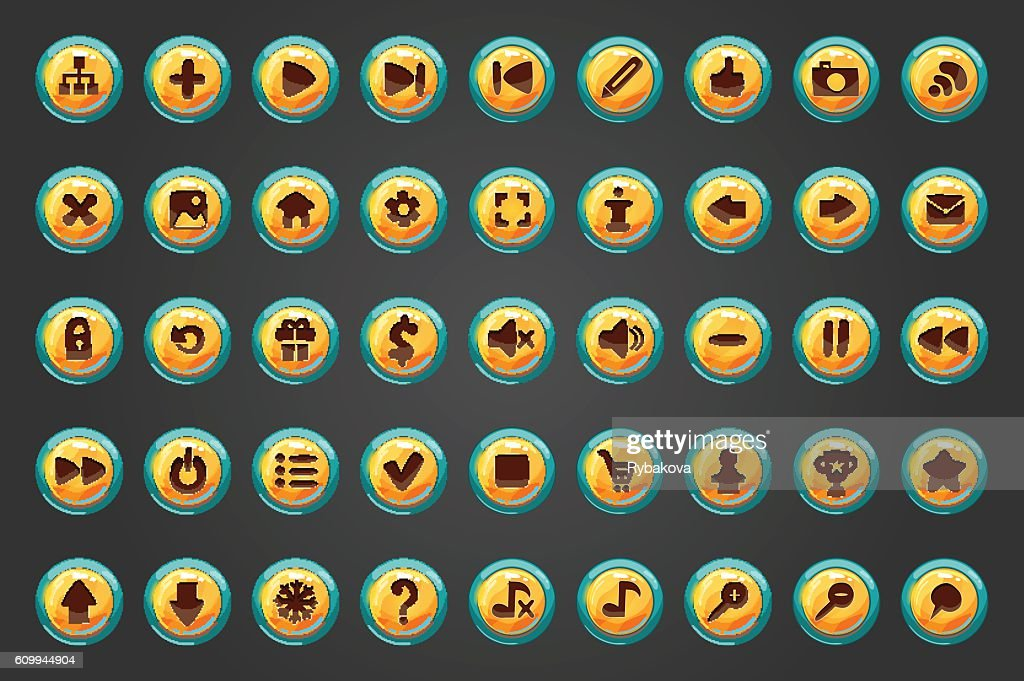 Big set of fifty vector button for game design.