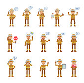 Big set of firefighter characters showing different actions, gestures, emotions