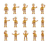 Big set of firefighter characters showing different hand gestures