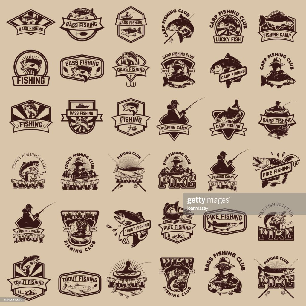 Big set of fishing icons. Carp fishing, trout fishing, bass fishing, pike fishing. Design elements for  label, emblem, sign. Vector illustration.