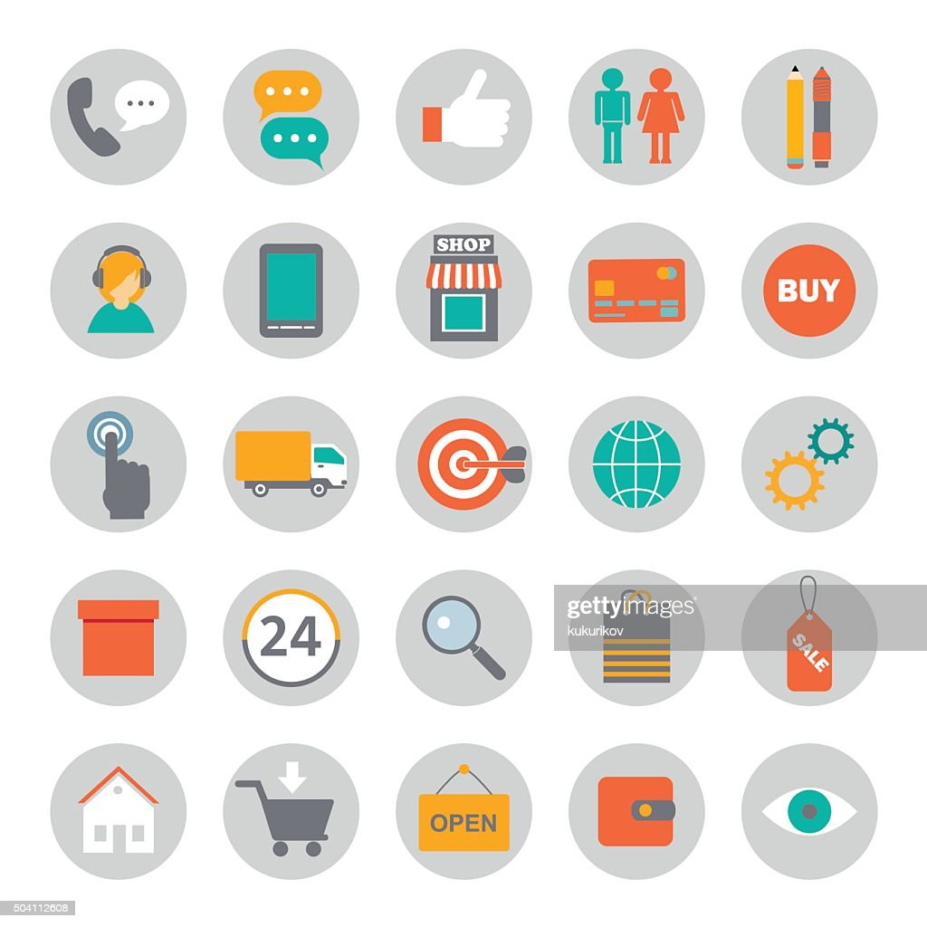 big set of flat icons for online shopping