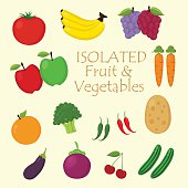Big Set of Fruits and Vegetables Icon. Flat Vector. Isolated