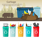 Big set of Garbage sorting bins infographic recycling concept ship the trash Ecology city flat background