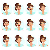Big set of girl's emotions. Woman's face expressions.