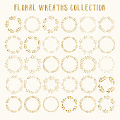 Big set of gold floral wreaths. Vector. Isolated.